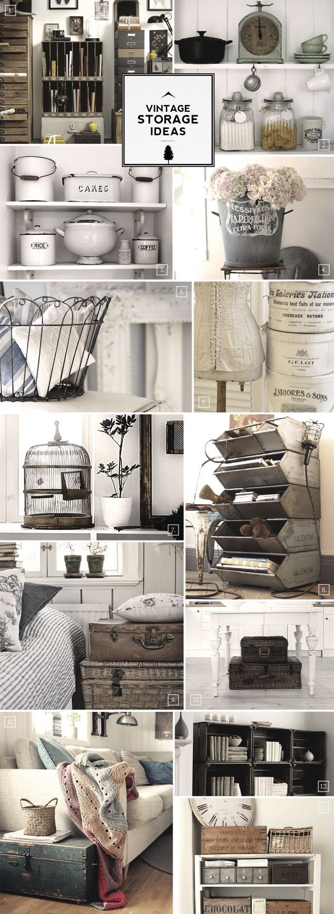 Vintage storage ideas. Enamelware, jars with lids, shelves, drawers, tins, corset on dress form, cast iron, scale, trunks, white table, striped bedding, plants in pots, wooden boxes, birdcage, books, baskets, afghan, sofa, sofa pillows