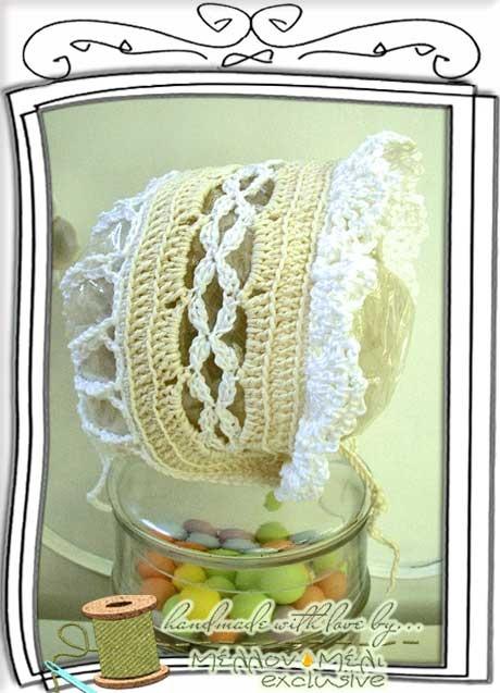 """Μοναδικό σκουφάκι bonnet """"Laura"""" για βαπτιστικό φόρεμα"""