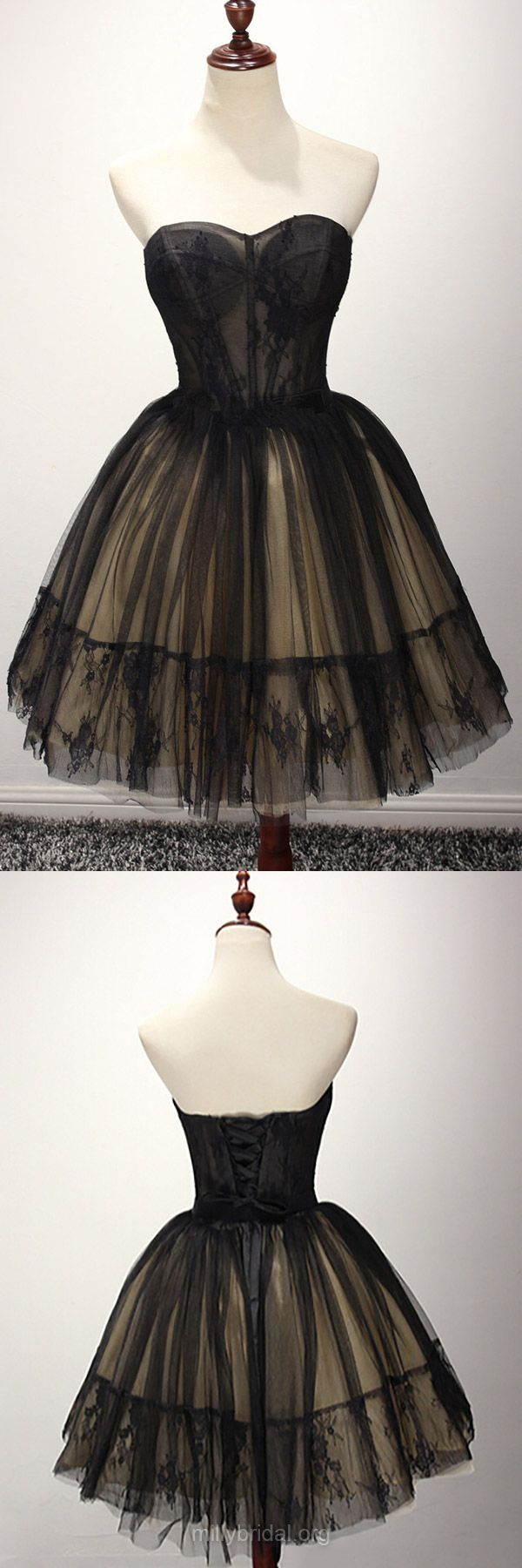 Black Prom Dresses Lace, Short Prom Gowns Princess, Sweetheart Formal Party Dresses Tulle
