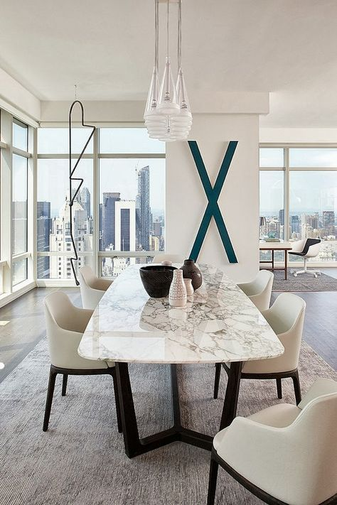 Dining room table and chairs: marble table with suede chairs texture