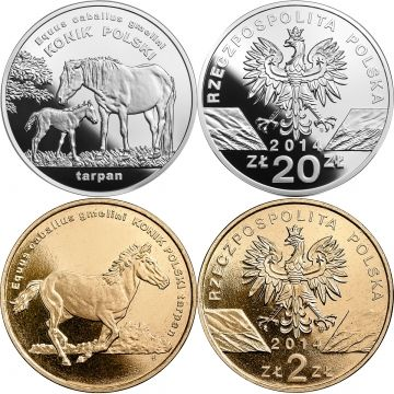 Polish konik horse, silver coin with the face value 20 zł, Nordic Gold coin with the face value 2 zł