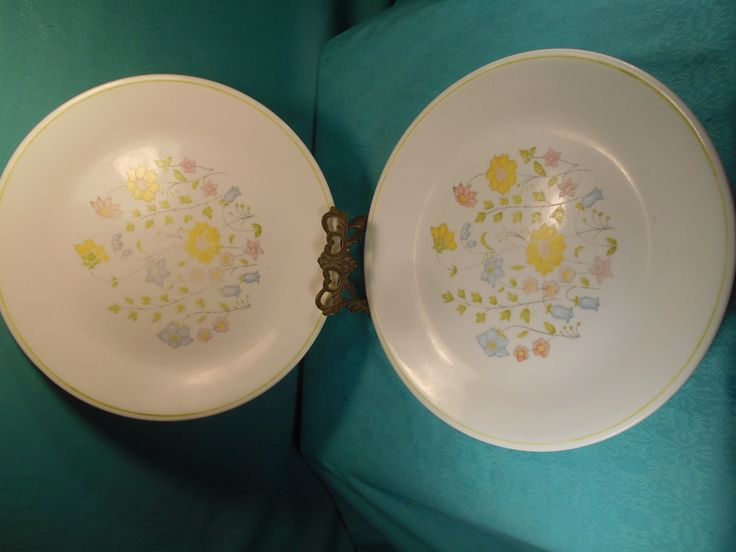 Corelle Dinner Plates- Set of Two Corelle 10 Inch Dinner Plates In The Meadow Pattern by SETXTreasures on Etsy
