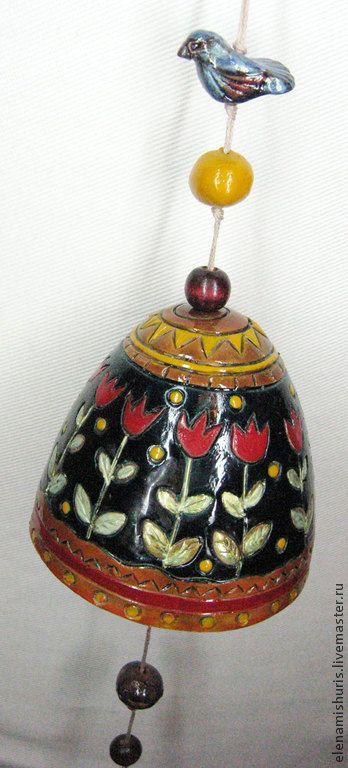 """Колокольчик """"Ночные цветы"""" - колокольчик,колокольчик ручной работы,колокольчик керамический"""