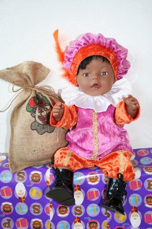 ZWARTE PIETENPAKJE!! roze/oranje | *POPPENKLEDING* voor ca. 43cm (o.a. BabyBorn) | Astrids Atelier Poppenkleding