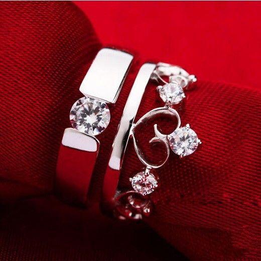 11 2016 Fashion Couple Rings Silver Plated Heart Men/Women Anel Wedding Ring Aneis De Diamante Simulated Diamond Accessories J413
