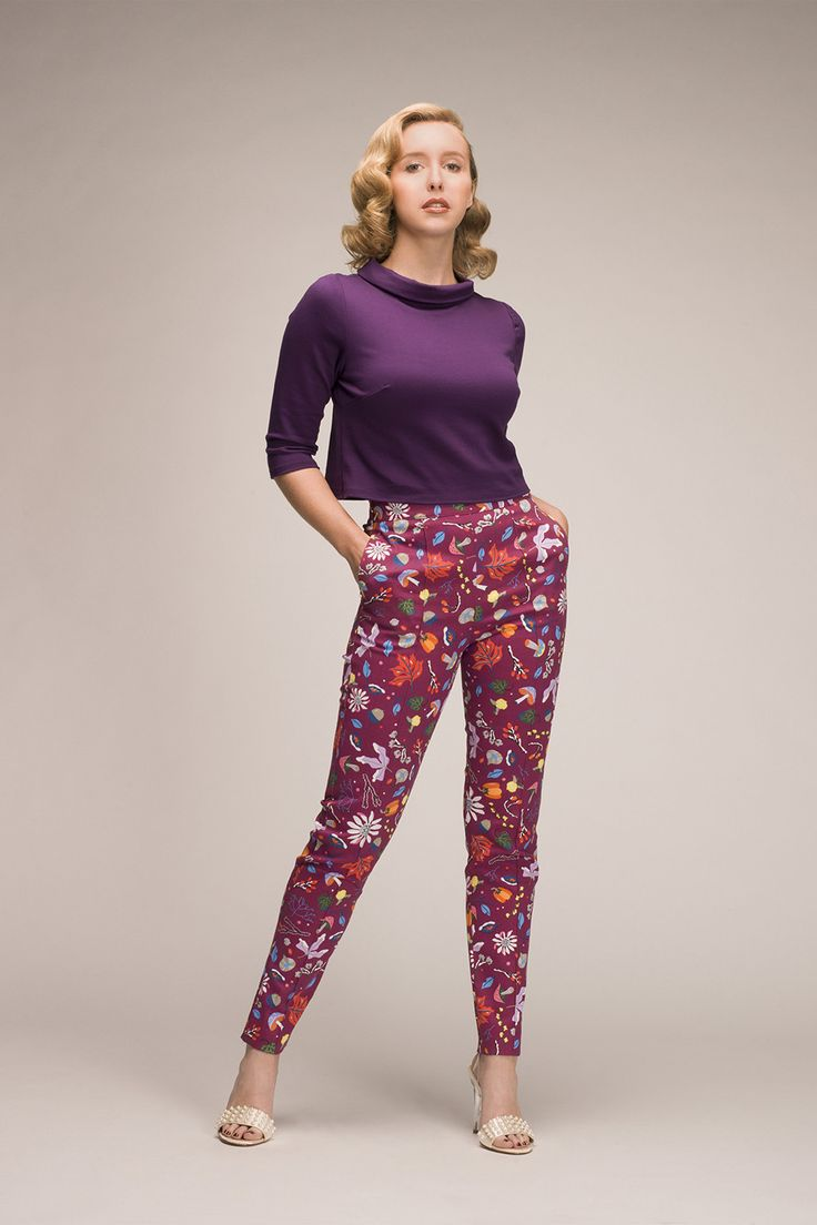 High Waisted Cropped Trousers in Plum First Frost Print by DAPPER DAY - New Arrivals - New | Pinup Girl Clothing