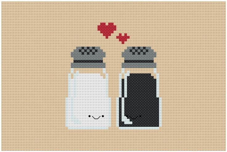 Perfect Pairings - Kawaii Salt and Pepper - PDF Cross-stitch Pattern. $3.00, via Etsy.