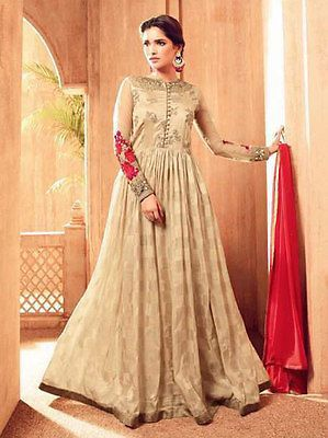 Womens Indian salwar kameez freeshipping bollywood zari work embroidery anarkali