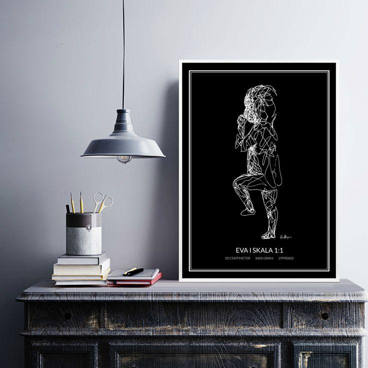 Poster 1, white/black