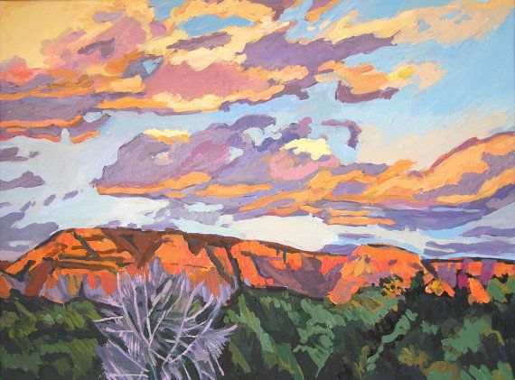Southwestern Painting Western Sky Sunset In Sedona Fine Art Print 8x10, orange pink purple Arizona Painting by Gwen Meyerson