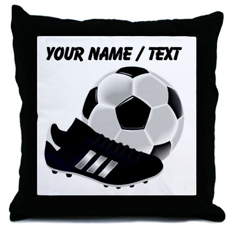 Custom Soccer Ball and Cleats Throw Pillow
