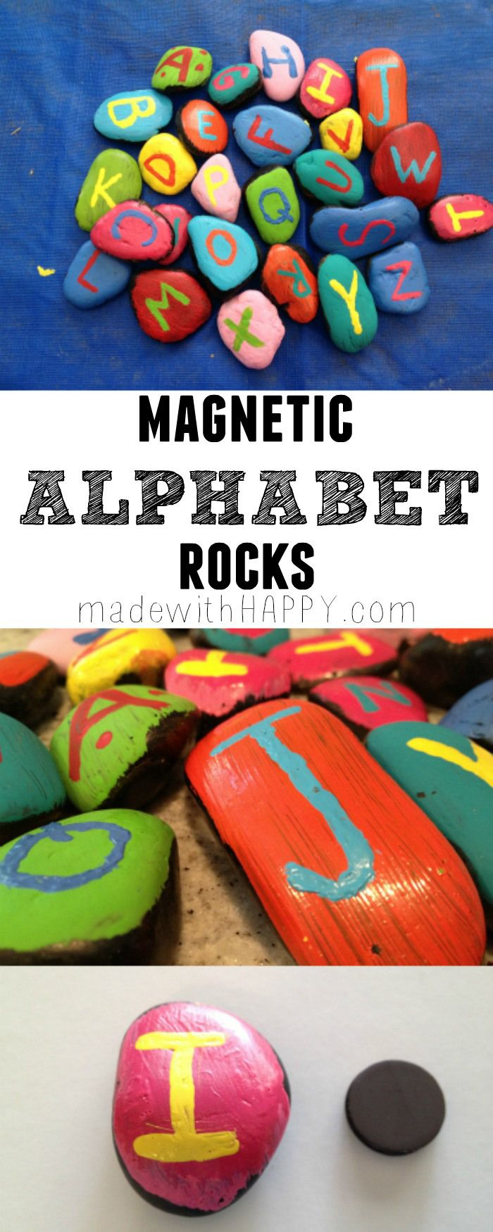 Magnetic Alphabet Rocks - Kids Crafts - Learning Letters - www.madewithHAPPY.com