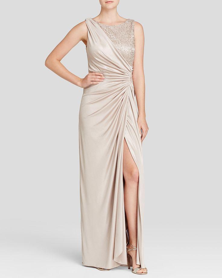 Adrianna Papell Sleeveless Lace & Matte Jersey Gown/Sleeveless Lace & Matte Jersey Gown