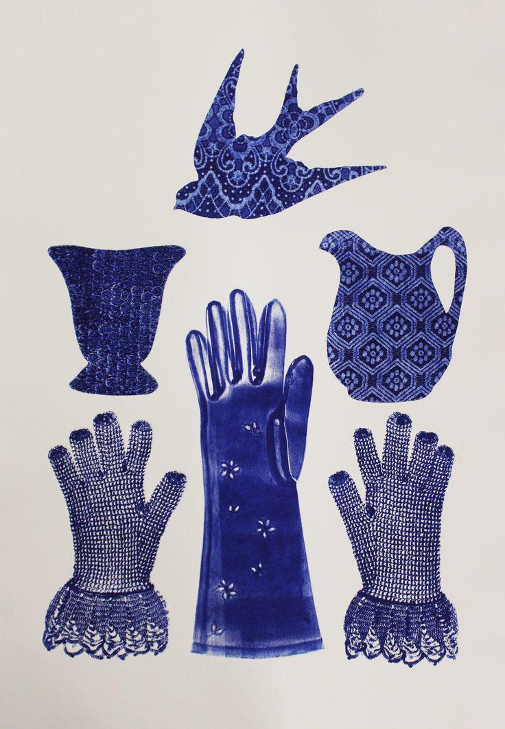 E A Hansen, Trinity I (blue), 2017, mono type mono print, collograph, lace glove