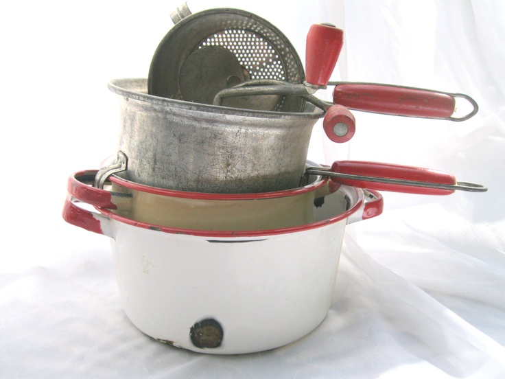 Vintage Kitchenware Instant Collection / Red and White / Enamelware / Food Mills / Four Pieces from Tessiemay.