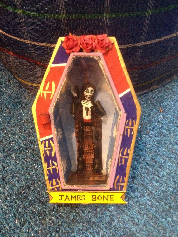 "James ""Bone"" Bond Mexican Folk Art Nicho, Day of the dead James Bond Wall Art Shrine, Diorama by Loveshine on Etsy"