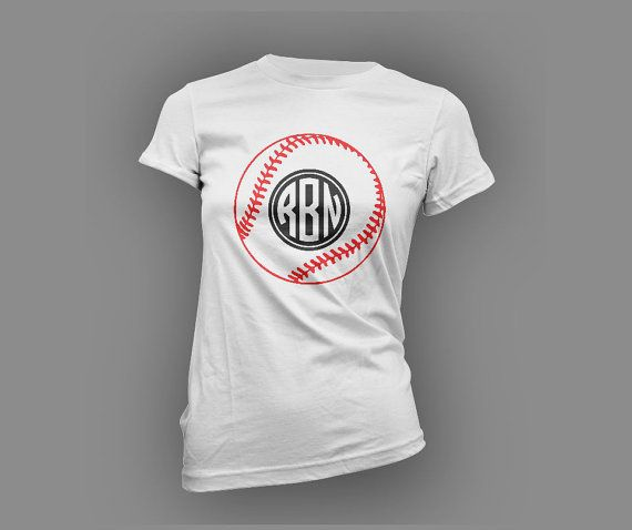 Fantastic new style baseball mom t shirt! The circular monogram in black glitter flake perfectly complements the shape of a ball to give it a