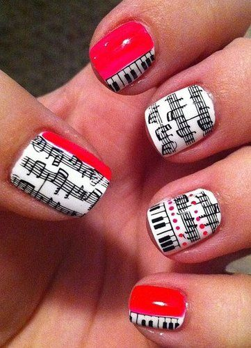 This are so cool!!!! Music nails!