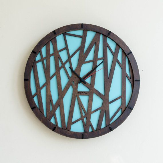 "Wood Wall Clock ""Bamboo"", Large Wall Clock, Wooden Clock, Wood Decor, blue, wood, plywood, interor decor, handmade, oil, hermle"