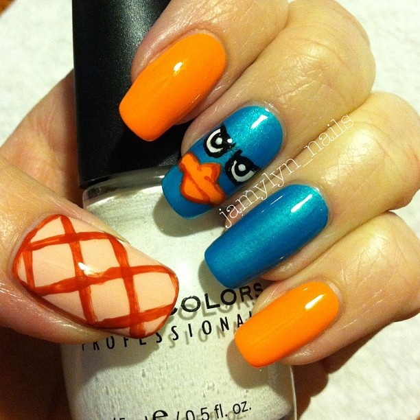 Perry the Platypus Nails. I love Phineas and Ferb!