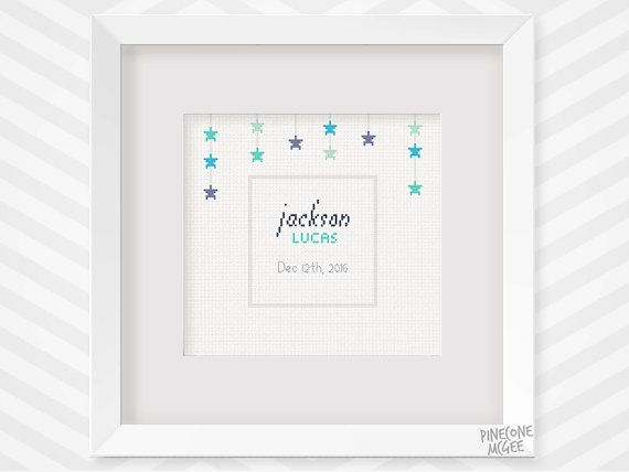 BIRTHDAY STAR RECORD counted cross stitch pattern by PineconeMcGee