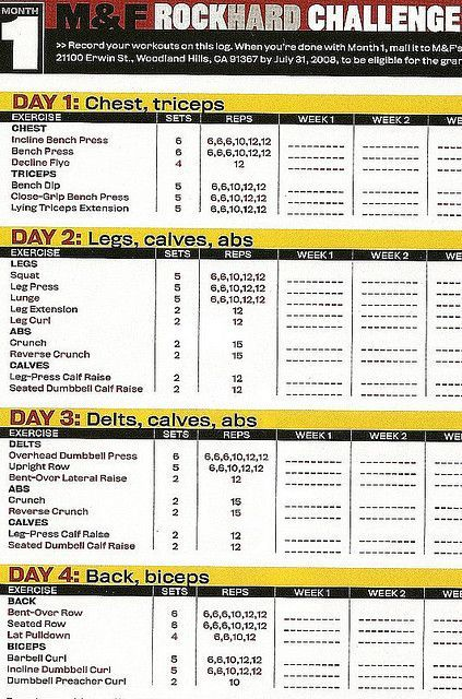 awesome Muscle & Fitness Rock Hard Challenge Training Log 2008  Month 1...