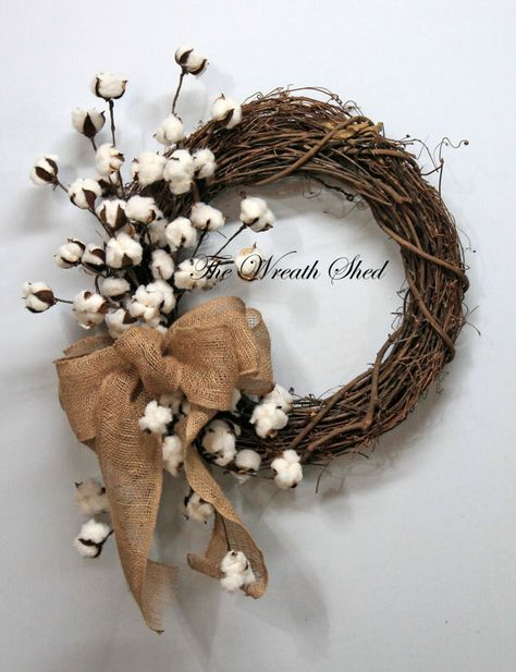 Natural Cotton Wreath, Cotton Boll Wreath, Natural Cotton Bolls, 2nd Anniversary Gift, Farmhouse Decor, Burlap Bow, Country Primitive Decor