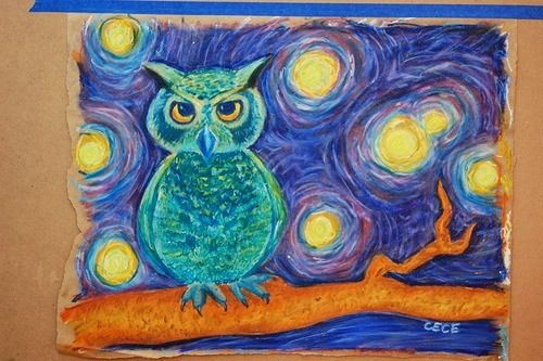 """""""Van Gogh's Owl"""" Oil pastel....cute idea...have students 'recreate' starry night...keep the sky and change the scene. Cool idea."""