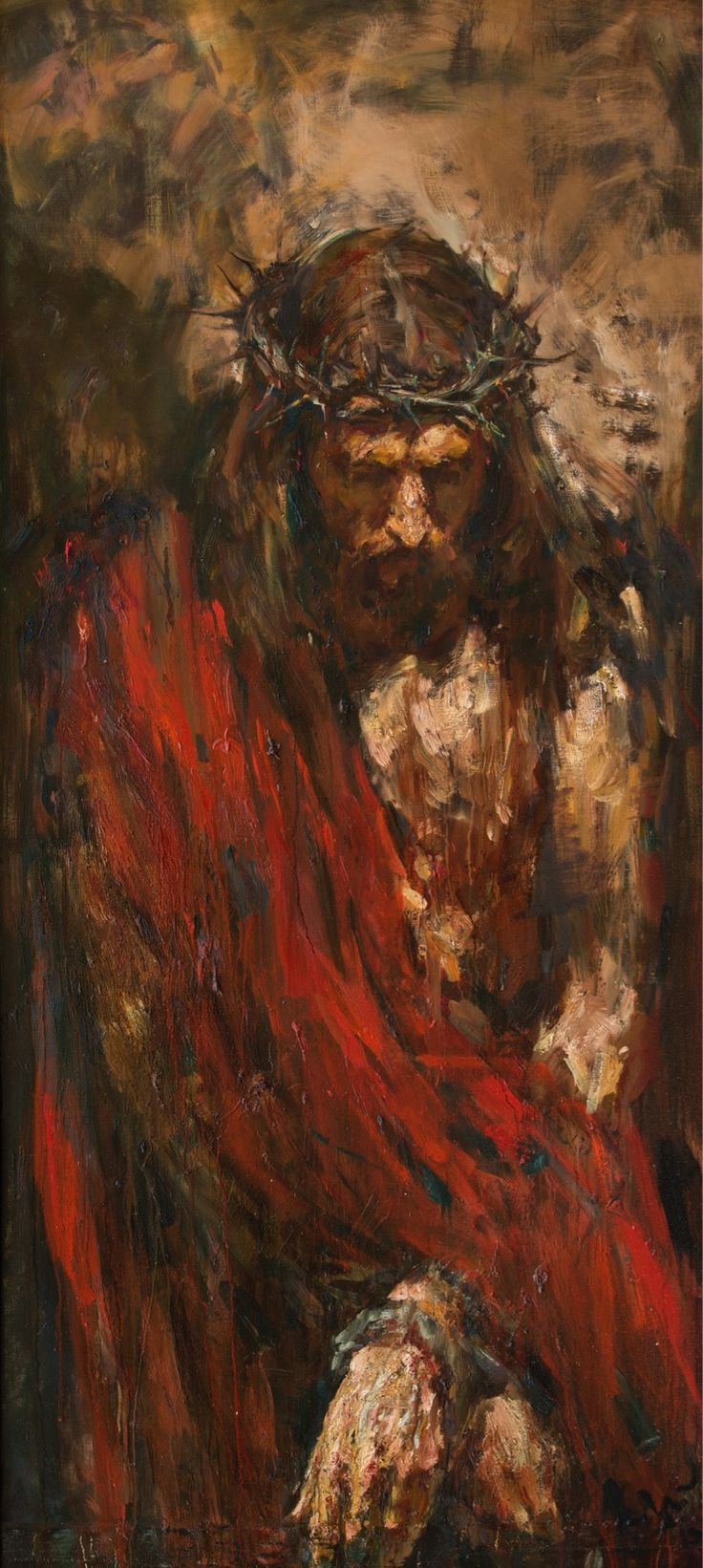 """Ecce homo"", 208x95 cm, oil on canvas,2013. Anatoly Shumkin. This reminds me that Jesus was a man who suffered as we do in his life, but also unimaginaly more for our sins on the cross."
