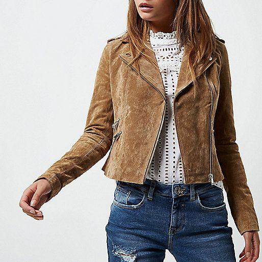 Tan suede biker jacket - jackets - coats / jackets - women