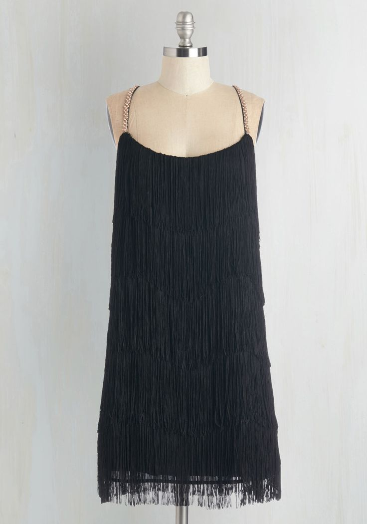 It's easy to miss, but the straps on this one are awesome (especially in the back) All Things Fabulous Dress. Parties, premiers, or prime time with your gals - this fringed party dress keeps you decked out in fab fashion! #black #modcloth