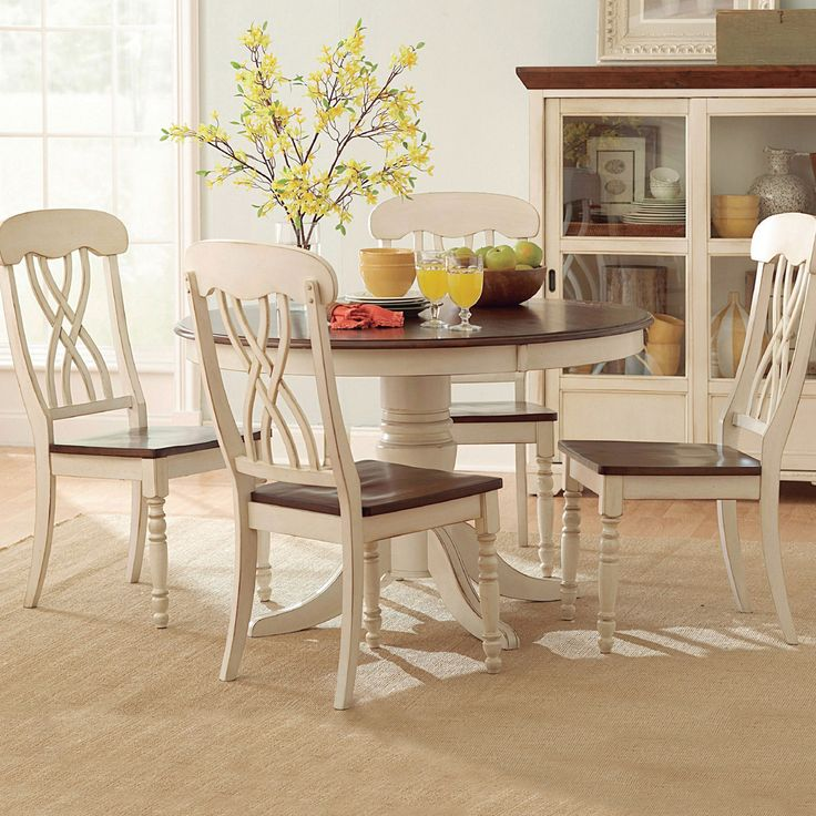 TRIBECCA HOME Mackenzie Round Country Antique White Dining Table |  Overstock.com Shopping   The
