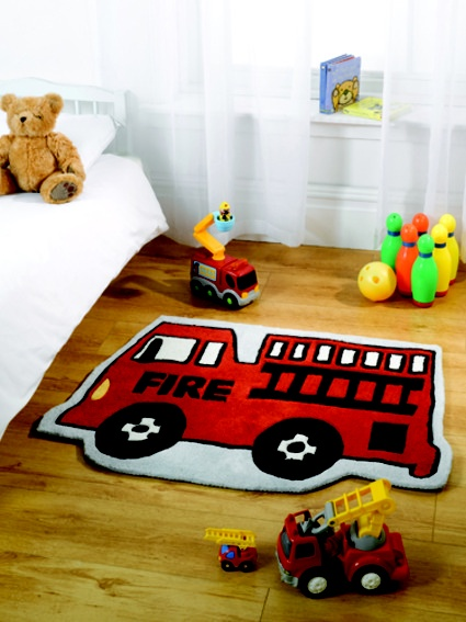 Boys Red Fire Truck Rug