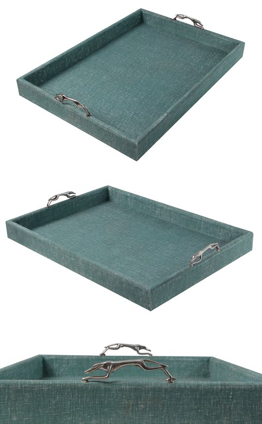 Linen tray or rather realistic faux linen tray which makes this tray easy to clean.
