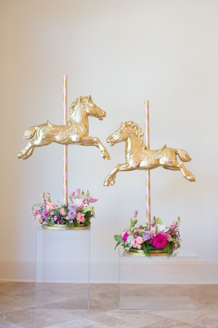 Floral Arrangements + Decor Pieces from a Pink Carousel Birthday Party via Kara's Party Ideas! KarasPartyIdeas.com (34)