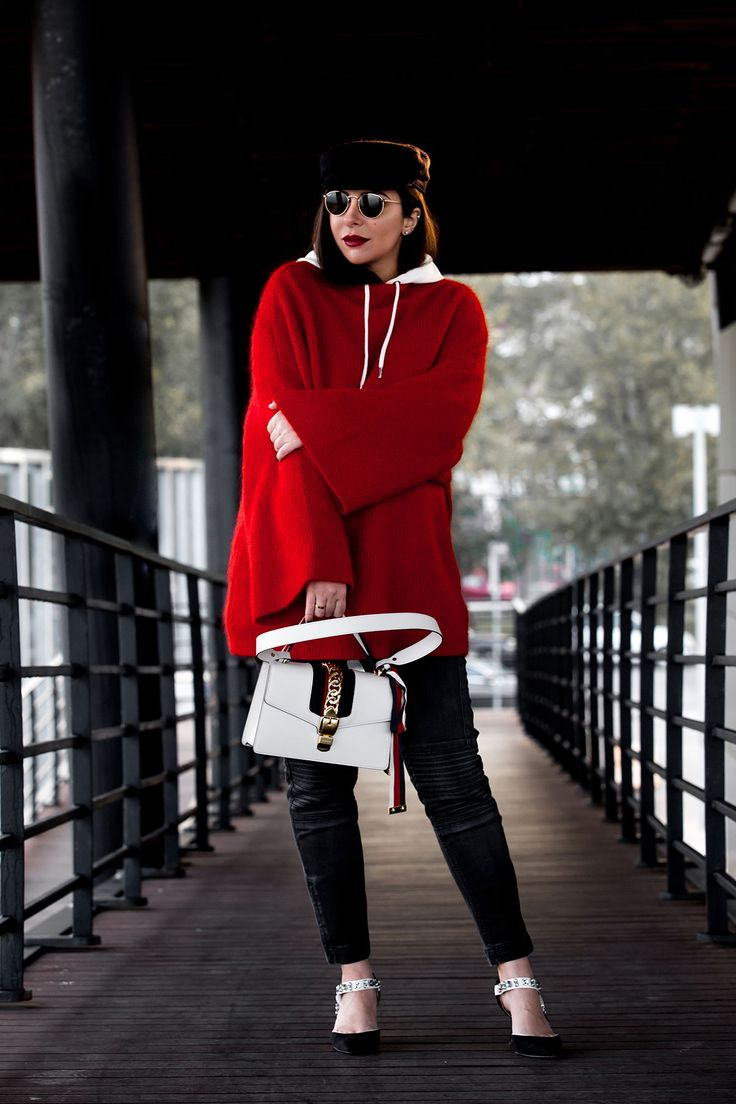 Red sweater, hoodie & baker boy hat with Gucci Sylvie bag, worn by Stella Asteria, fashion & lifestyle blogger