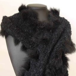 Luxurious Mohair Scarf with Possum Fur Trim
