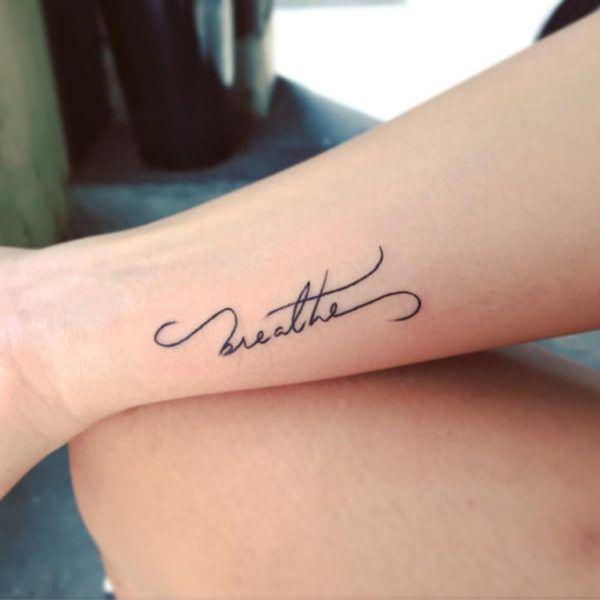 Breathe Letter Tattoo On Wrist