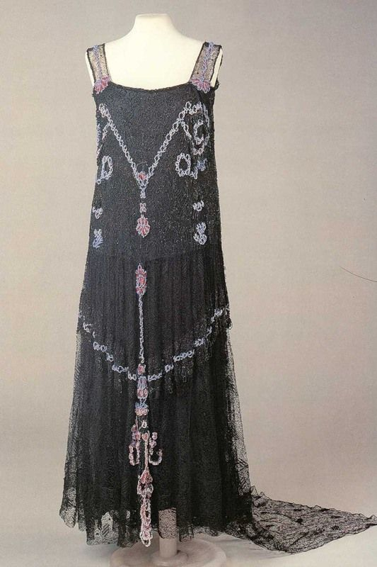 "Beaded and embroidered black lace evening gown by Nadezhda ""Hope"" Lamanova, Russian, late 1910s."