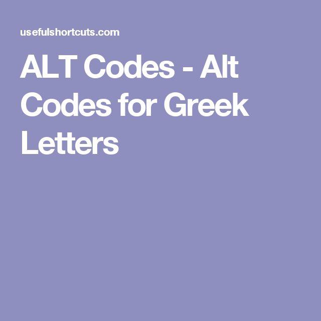 ALT Codes - Alt Codes for Greek Letters