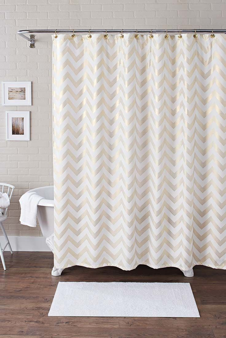 Chevron bathroom sets with shower curtain and rugs - Better Homes And Gardens Metallic Chevron Fabric 13 Piece Shower Curtain Set