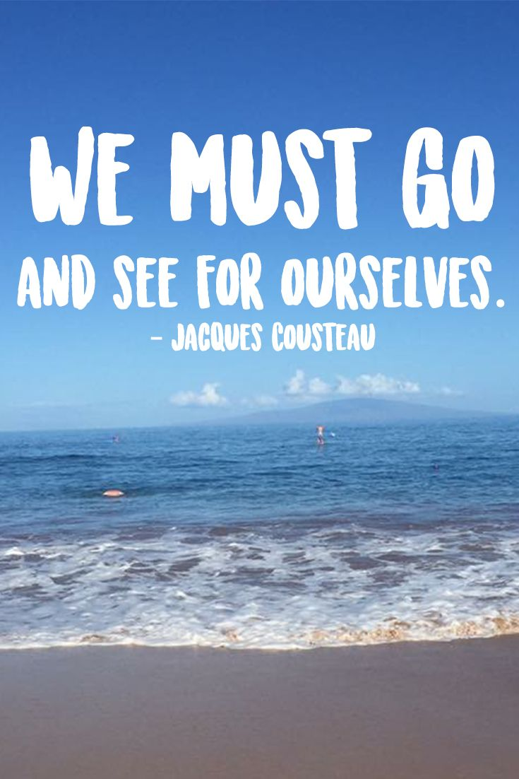 """""""We must go and see for ourselves."""" — Jacques Cousteau"""