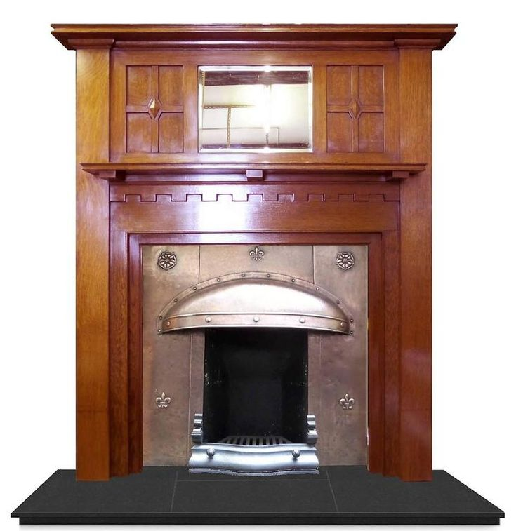 20th Century Edwardian Arts and Crafts Oak Mantel Fireplace Surround and Mirror 5