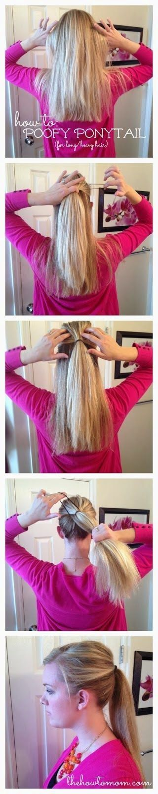 pinterestus:  how to poofy a ponytail