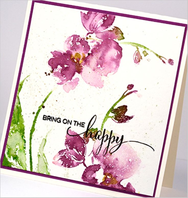 handmade card featuring Penny Black Gentle Whisper stamp ... orchids ... watercolor style stamping ...