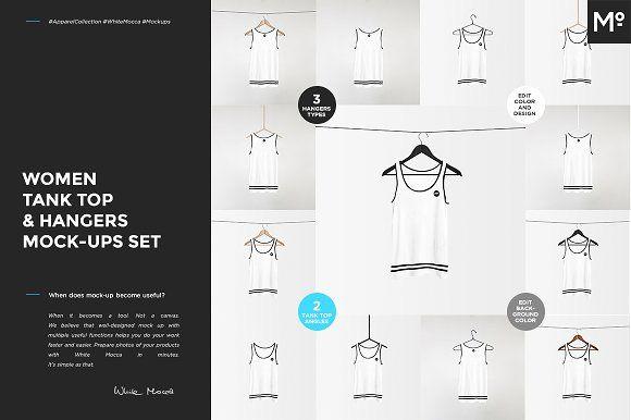 Women Tank Top & Hangers Mock-ups by Mocca2Go/mesmeriseme on @creativemarket