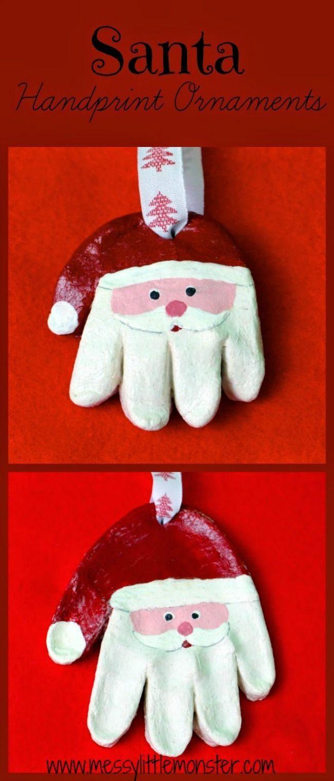 Kids Christmas craft ideas for babies, toddlers and preschoolers. How to make a salt dough santa handprint ornament. A cute keepsake or homemade gift idea.