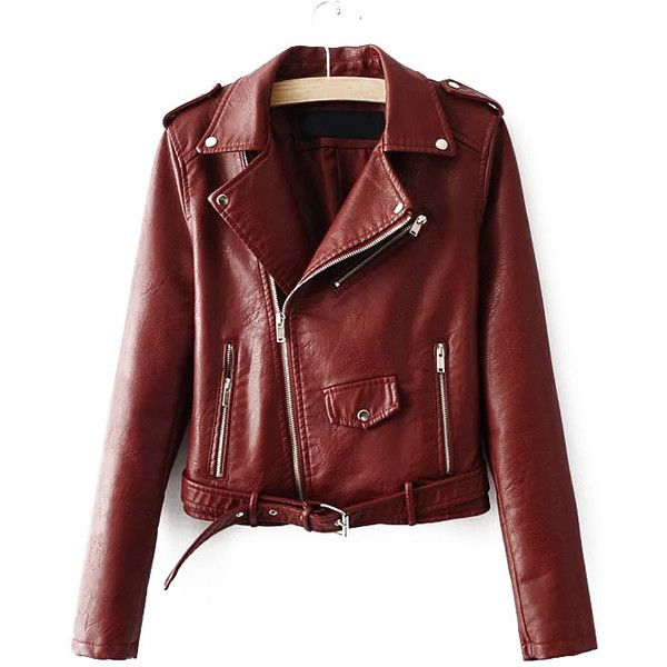 SheIn(sheinside) Brown Faux Leather Belted Moto Jacket With Zipper (£34) ❤ liked on Polyvore featuring outerwear, jackets, brown, biker jacket, faux leather jacket, red biker jacket, vegan leather jacket and motorcycle jackets