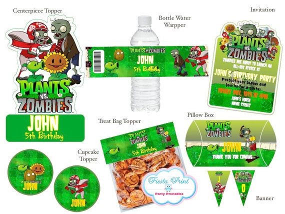PLANTS VS. ZOMBIES Birthday Party Printable Package by FiestaPrint, $25.00