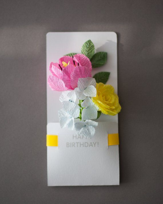 Kids Paper Flowers Birthday Card Female Birthday Card Etsy Paper Flowers For Kids Paper Flowers Birthday Cards